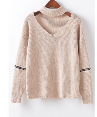 sweater girl girly girly wishlist knit knitted sweater cream nude zip v neck