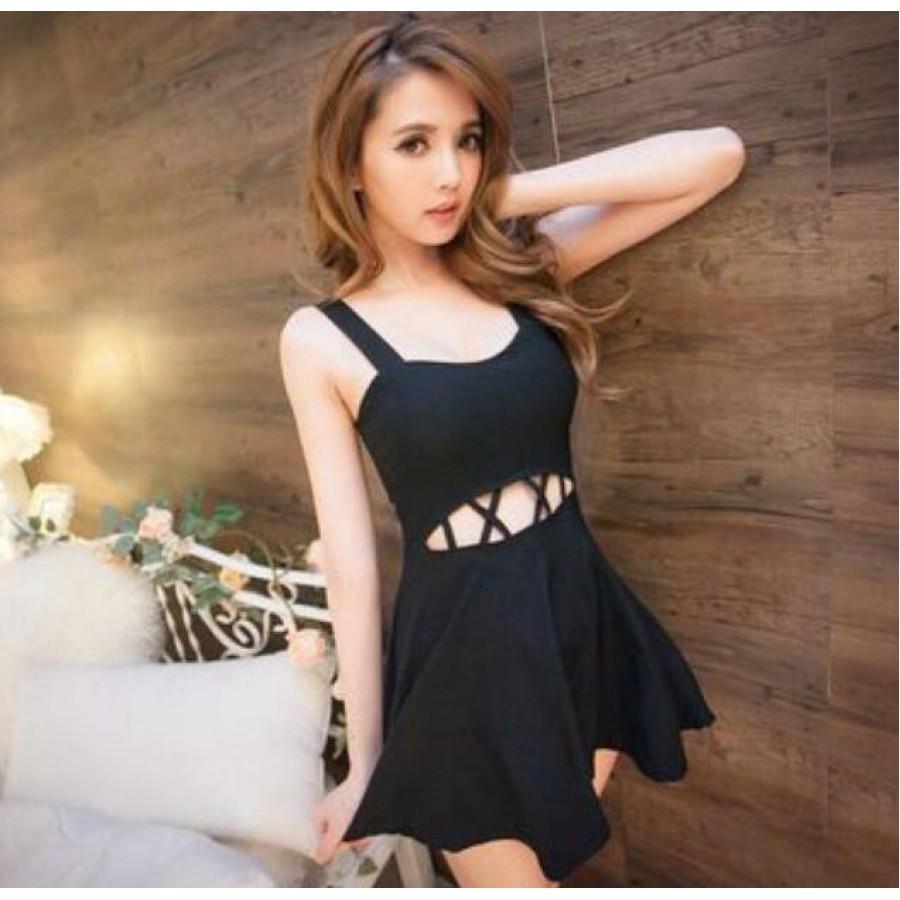 Black Cut-Out Strap Dress