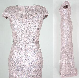 dress evening dress sequined dress pink dress