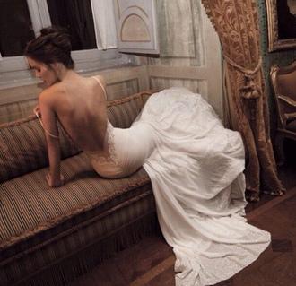 dress white beautiful backless silk lace