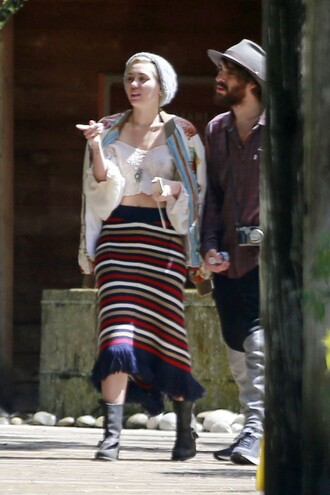 skirt stripes miley cyrus midi skirt crop crop tops shoes boots