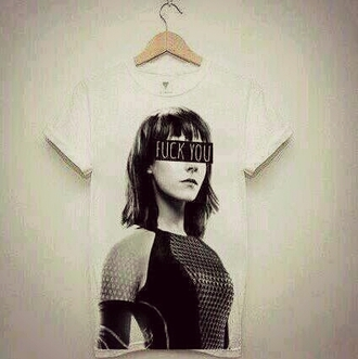 t-shirt johanna mason jena malone the hunger games shirt printed shirt black and white catching fire weheartit