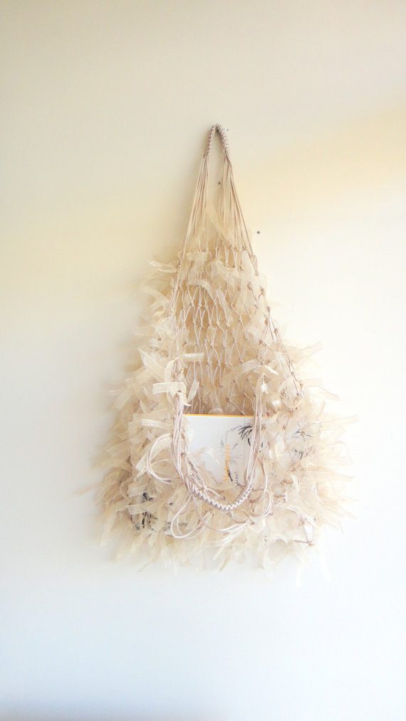 Hairy beige net bagfree shipping by bestbazaar on etsy