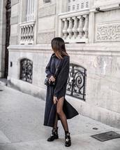 dress,black boots,black dress,maxi dress,knitted dress,knitwear,slit dress,tights,boots,ankle boots,crossbody bag,bag