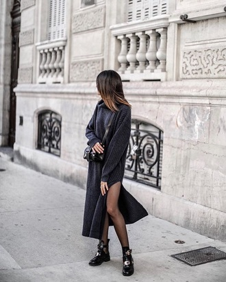 dress black boots black dress maxi dress knitted dress knitwear slit dress tights boots ankle boots crossbody bag bag