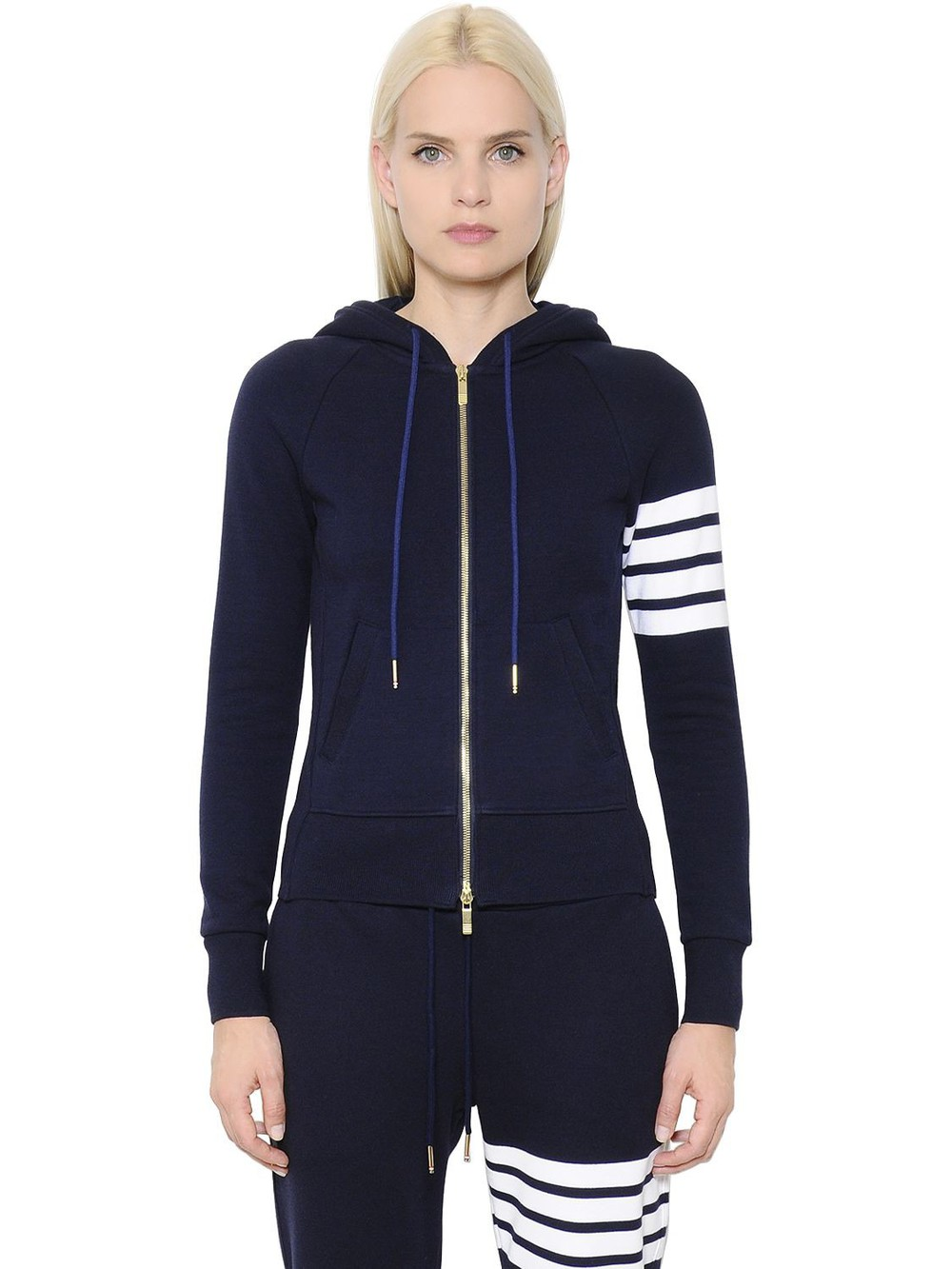 THOM BROWNE Intarsia Cotton Jersey Zip-up Sweatshirt in navy