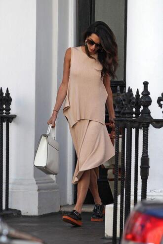 skirt top amal clooney shoes asymmetrical