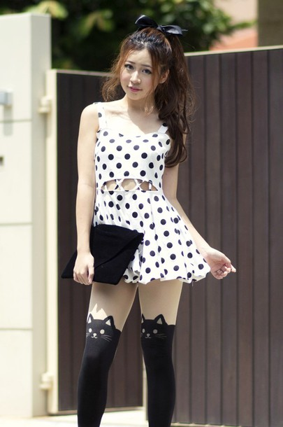 dress polka dots cute dress black and white dress cut-out dress lovely polka dotted