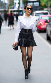 blouse,top,shirt,skirt,mini skirt,black and white,olivia culpo,streetstyle,ruffle,spring outfits