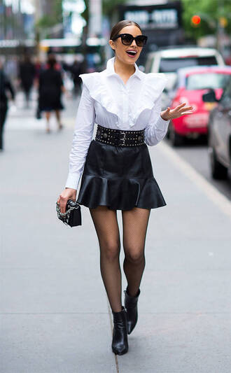 blouse top shirt skirt mini skirt black and white olivia culpo streetstyle ruffle spring outfits