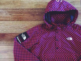coat purple supreme north face supreme jacket north face jacket checkered