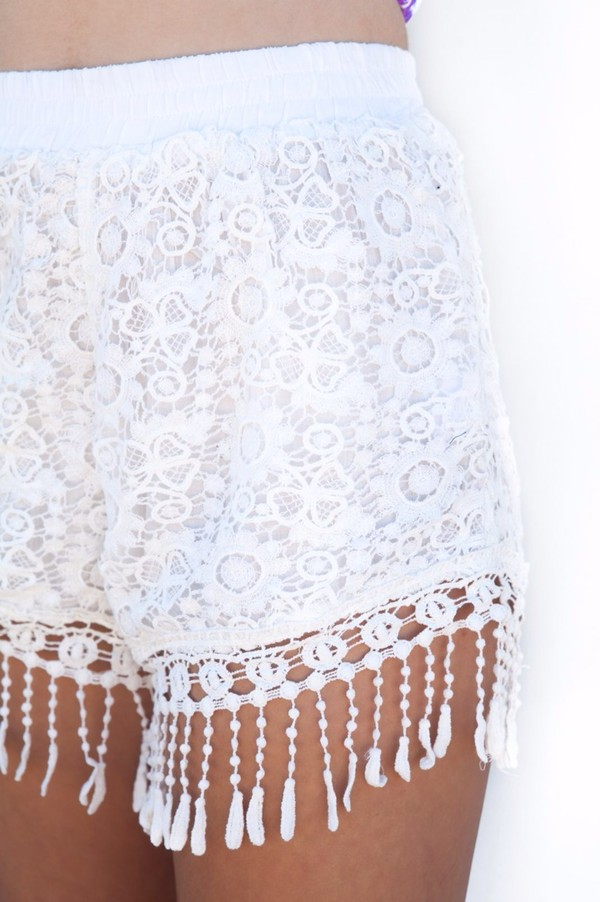 shorts crochet tassel white pants High waisted shorts jada blue
