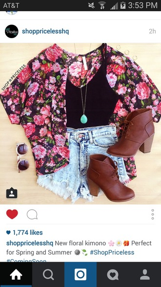 cardigan floral floral kimono pink flowers