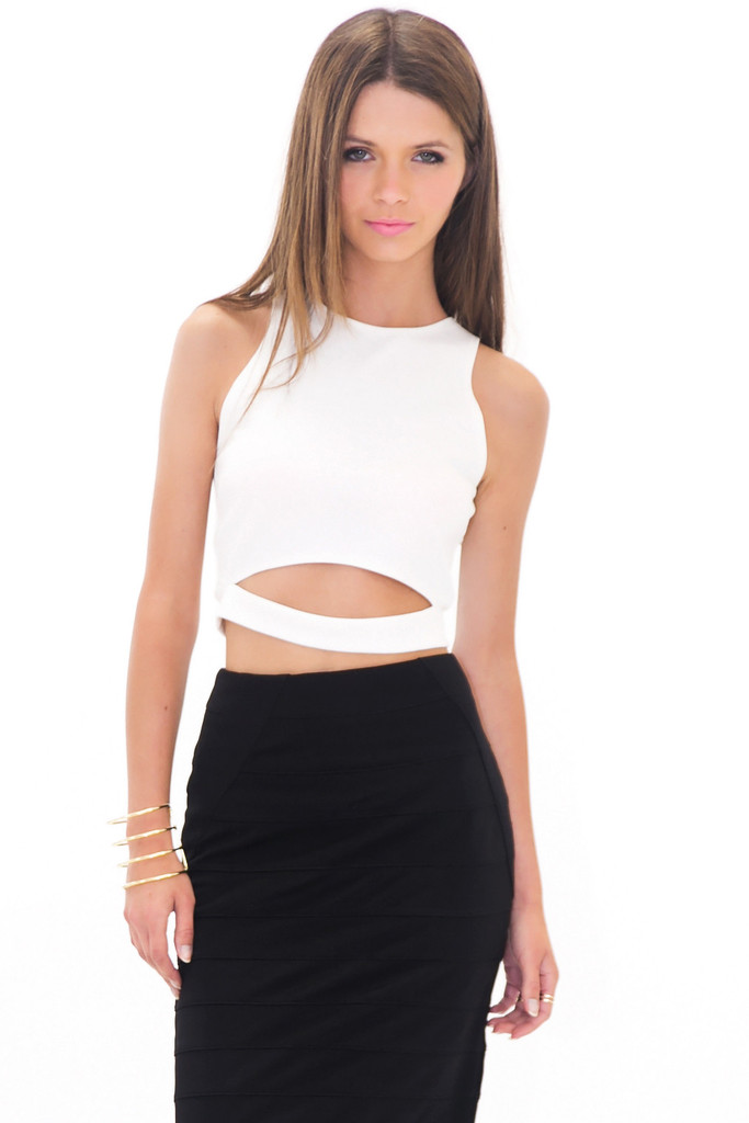 sonia cutout crop top white haute rebellious. Black Bedroom Furniture Sets. Home Design Ideas