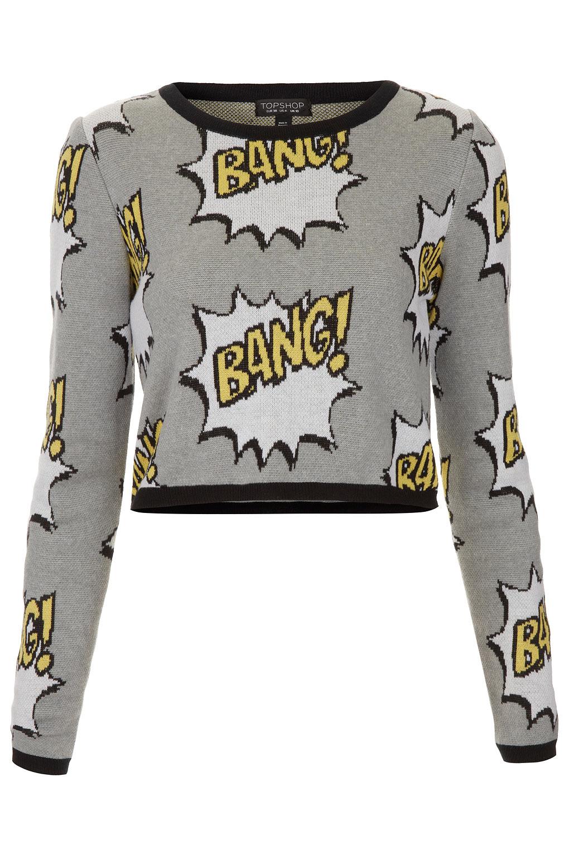 Topshop gray knitted bang motif crop jumper