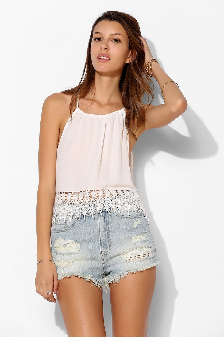 BDG High-Rise Cheeky Denim Short - Slash Super Destroy - Urban Outfitters