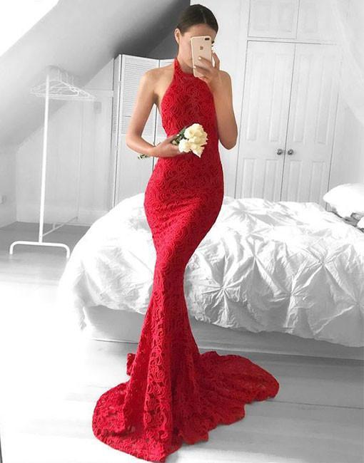 5b141c05e1c Simple red lace mermaid long prom dress