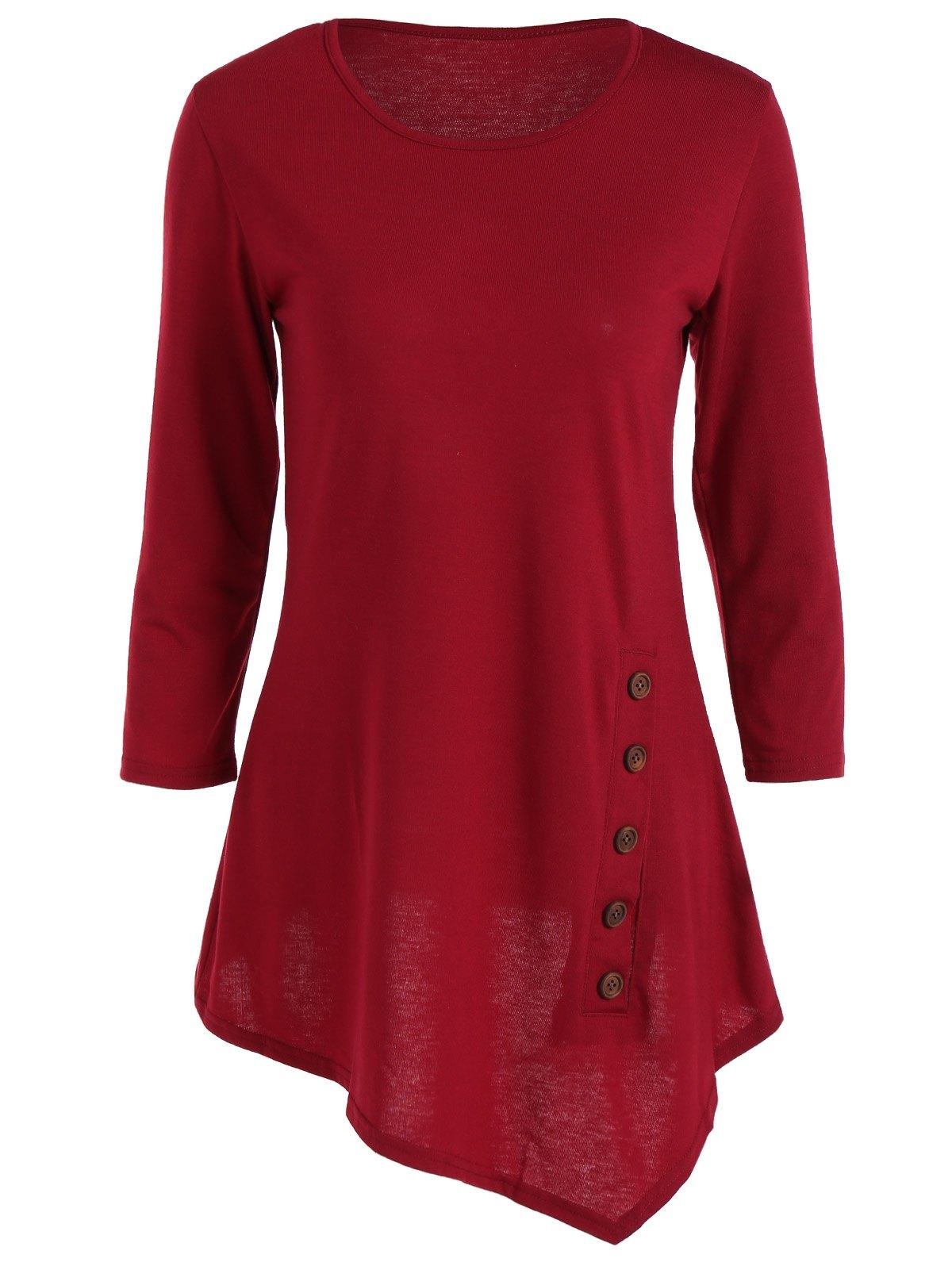Trendy Pure Color Button Asymmetric Blouse For Women