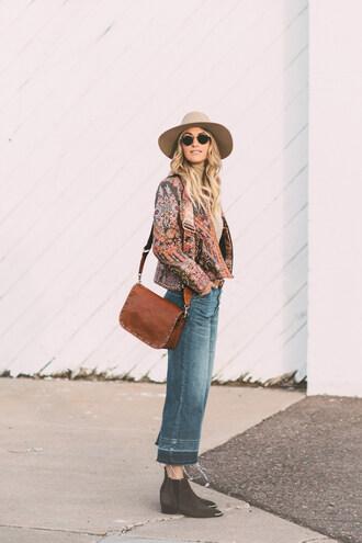 a little dash of darling blogger bag top jeans shoes felt hat shoulder bag ankle boots printed jacket fall outfits