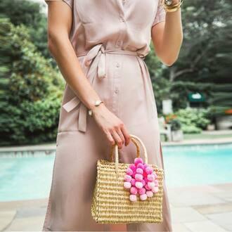 bag tumblr basket bag pom poms bracelets cuff bracelet jewelry accessories accessory jewels