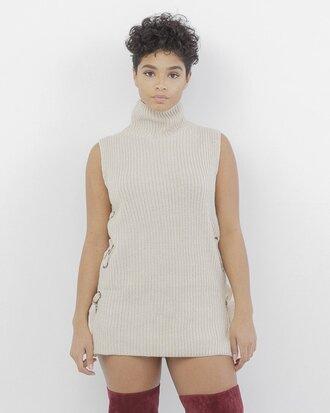 sweater shirt nude nude shirt nude sweater mock neck mock neck sweater sleeveless sweater knit knitted sweater knitwear turtleneck turtleneck sweater sleeveless