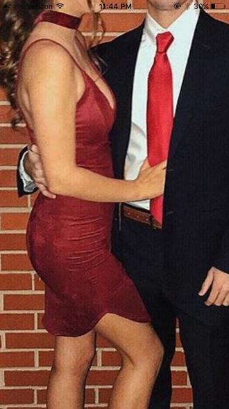 dress red dress choker necklace bodycon dress