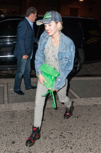 pants top sweatpants grey miley cyrus boots denim jacket