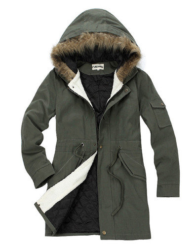 New Men Women Military Long Winter Trench Coat Jacket Hooded Parka Overcoat on Wanelo