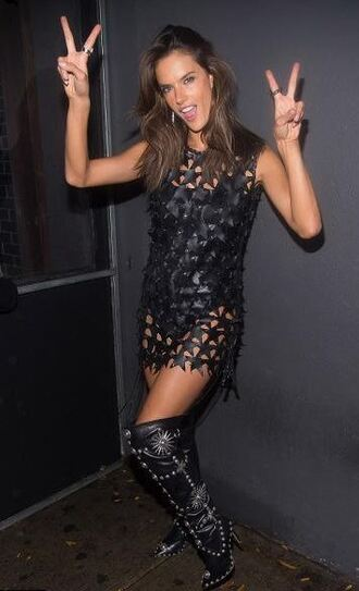 dress alessandra ambrosio mini dress see through dress embellished stars bodysuit underwear