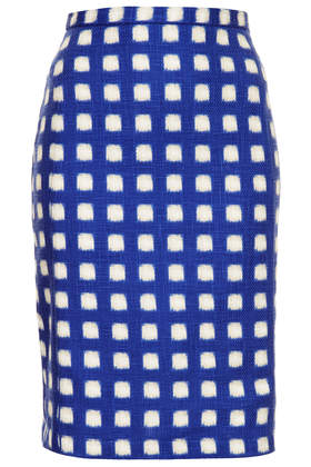 Blurry Check Pencil Skirt - Topshop