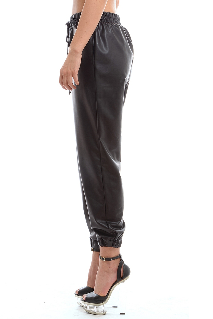 Drawstring Pleather Pants - Black from ROXX at ShopRoxx.com