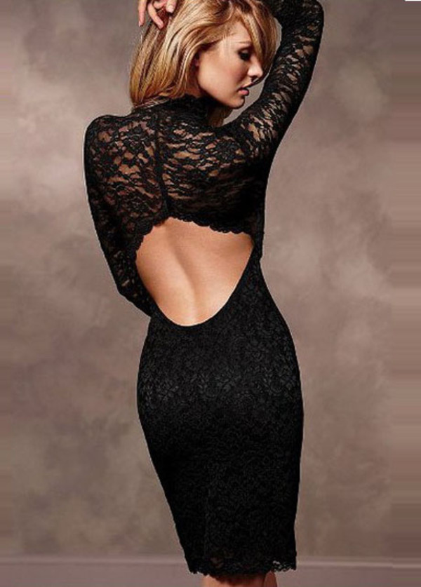 dress black sexy hollow lace clothes top skirt fashion backless dress
