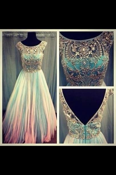dress blue dress pink dress chiffon jeweled jewels colorful dress prom dress diamonds white dress pintrest beautiful prom