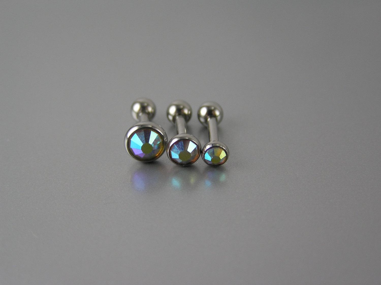 Set of aurora borealis gem triple helix barbell earrings studs 16g gauge 3mm 4mm 5mm 1/4