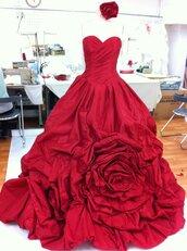 dress,designer,korean fashion,red,roses,beautiful,beautiful red dress,wedding clothes,wedding dress,wedding dress with flowers