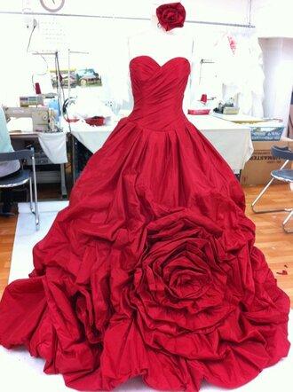 dress designer korean fashion red roses beautiful beautiful red dress wedding clothes wedding dress wedding dress with flowers