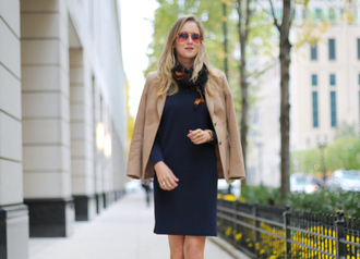 the classy cubicle blogger jacket scarf jewels sunglasses navy dress shoes
