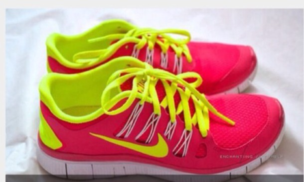 nike free run 3 neon yellow and pink national milk