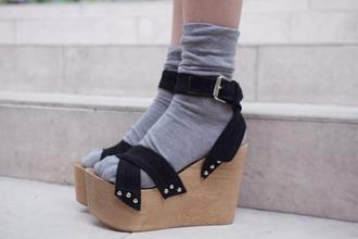 wooden heel wedges platform shoes
