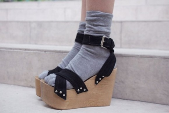 wooden heel wedges platform