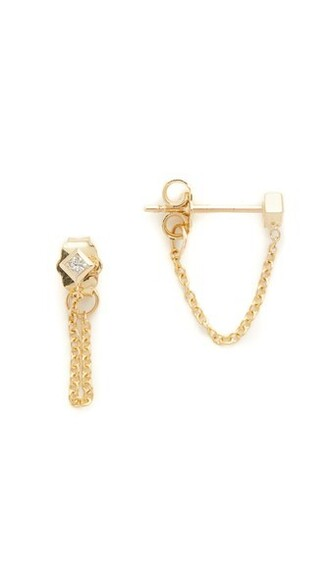 clear princess diamonds earrings gold jewels