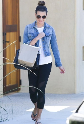 bag lea michele saint laurent rayban jacket sunglasses hair accessory leggings