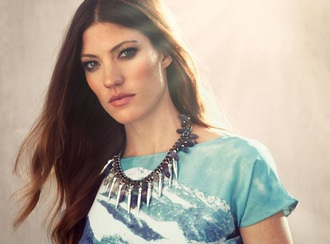 jennifer carpenter blue pattern necklace jewelry sky blue long dress cute dress blue dress brown brown dress white spikes
