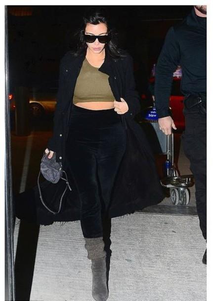coat boots crop tops kim kardashian
