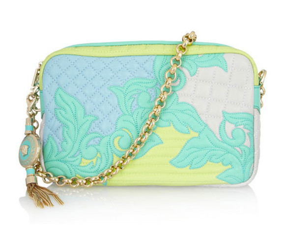bag purse cute blue versace pink yellow chain