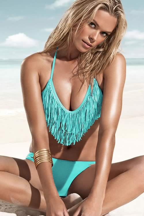 Cheap Sexy Halter Fringe Bikini Set Green Swimwear