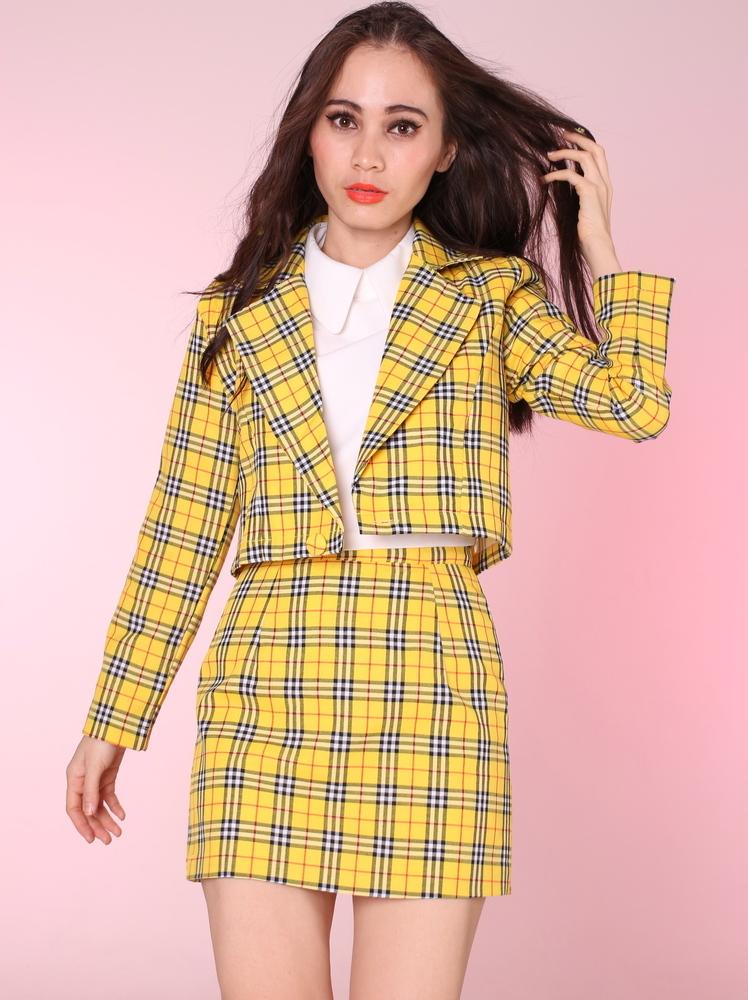 Glitters For Dinner u2014 Made To Order - Cher Yellow Tartan Blazer u0026 Skirt Set