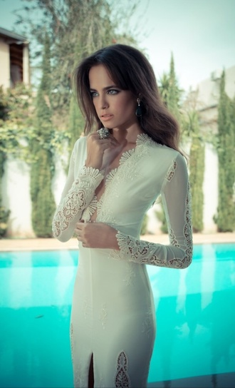dress white dress white prom dress gorgeous bride sequins