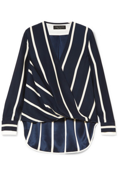 Rag & Bone blouse blue silk top