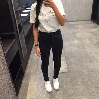 shirt white t-shirt radioactive dope black jeans selfie t-shirt white shirt white top